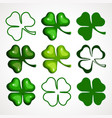 a cartoon set of clover leaves vector image vector image