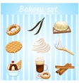 Bakery set - nine isolated sweet icons vector image