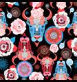 beautiful pattern of portraits of bulls vector image