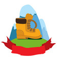 boot climber logo hiking climbing traveling color vector image
