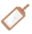 brown leather luggage tag with name address city vector image vector image