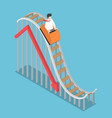 businessman is riding on a roller coaster with vector image