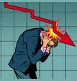 businessman panic fall shares and income vector image