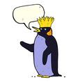 cartoon emperor penguin waving with speech bubble vector image vector image
