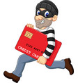 cartoon thief in a mask stealing a bank credit car vector image