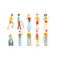 cheerful disabled handicapped people set blind vector image vector image