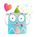 cheerful monster party with birthday cake vector image vector image