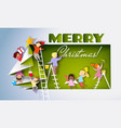 children different nationalities decorate holiday vector image
