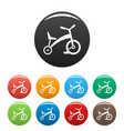 children tricycle icons set color vector image vector image