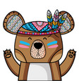 cute bear animal with feathers decoration vector image
