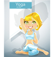 Cute blond girl in a yoga pose gomukha asana
