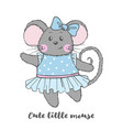 cute mouse character in blue dress vector image