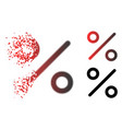 decomposed dot halftone percent icon vector image vector image