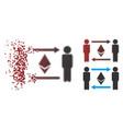 decomposed pixel halftone people exchange ethereum vector image vector image