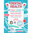 dental health clinic banner dentistry design vector image vector image