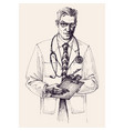 doctor portrait drawing vector image vector image