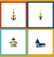 flat icon church set of structure christian vector image vector image