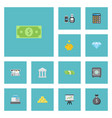 flat icons strongbox teller machine cash stack vector image vector image