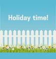 grass and white fence vector image vector image