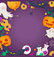 halloween background with cartoon characters vector image vector image