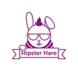 hipster hare in sunglasses outline logotype vector image vector image