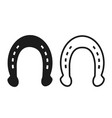 horseshoe icon silhouette black and white stock vector image vector image