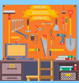 house remodel tools construction concept with vector image