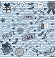 in blue tones pattern on shopping themed design vector image vector image