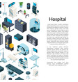 isometric hospital icons background with vector image vector image