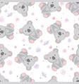 koala bear pattern seamless pattern pink vector image vector image
