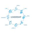 leadership isometric concept connected line 3d vector image