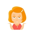 Little Red Head Girl In Red Dress Upset Flat vector image vector image