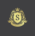 luxury logo monogram crest template design vector image vector image