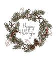 modern hand-drawn fir wreath with pine cones vector image vector image