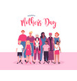 mothers day card of diverse mom and kid group vector image