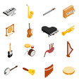 Musical Instruments set icons isometric 3d style vector image vector image