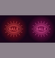 neon icon of red and pink sale badge vector image vector image