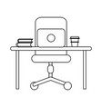 office with computer black and white vector image vector image
