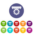 one gear icons set flat vector image vector image
