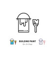 paint tin and paint brush outline icons repair vector image