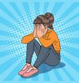 pop art upset young girl sitting on the floor vector image vector image