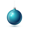 realistic blue christmas ball with silver ribbon vector image