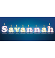 SAVANNAH written with burning candles vector image vector image