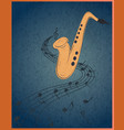 saxophone and musical notes on blue grunge vector image vector image