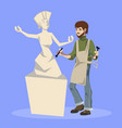 sculptor holding chisel and hammer vector image vector image