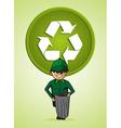 Service trash collector man cartoon recycle symbol vector image vector image