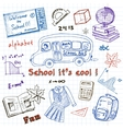 Set of school drawings on chalkboard Sketches vector image vector image