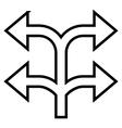 Split Arrow Left Right Thin Line Icon vector image vector image