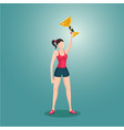 sport girl holding award winner cup woman with vector image vector image