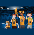 sports fans in a stadium vector image vector image